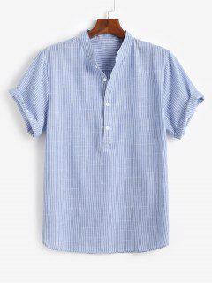 Half Button Striped Shirt - Blue M