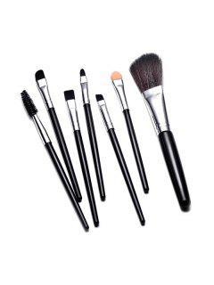 7 Pcs Multi-function Makeup Brushes Set - Black