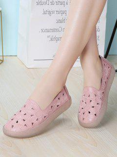 Floral Embroidery Hollow Out Flat Shoes - Pink Eu 41