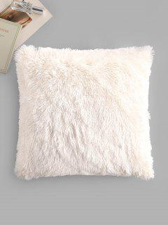 Square Plush Throw Pillowcase - White W18 X L18 Inch