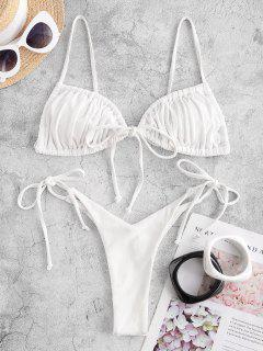 ZAFUL Cheeky Ribbed Tie String Bikini Swimwear - White S