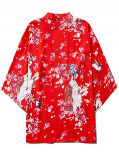 Sakura Geisha Print Open Front Kimono Cardigan - Ruby Red M