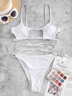 ZAFUL Crisscross Tie Cut Out Bikini Swimwear - White L