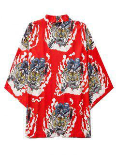Geisha Samurai Tiger Print Open Front Kimono Cardigan - Ruby Red Xl