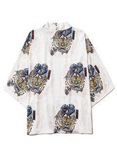 Geisha Samurai Tiger Print Open Front Kimono Cardigan - White L