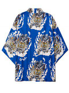 Geisha Samurai Tiger Print Open Front Kimono Cardigan - Cobalt Blue 2xl