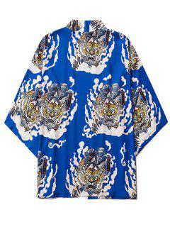 Geisha Samurai Tiger Print Open Front Kimono Cardigan - Cobalt Blue Xl