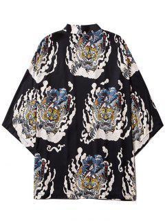 Geisha Samurai Tiger Print Open Front Kimono Cardigan - Black 2xl