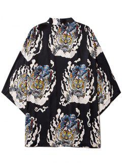 Geisha Samurai Tiger Print Open Front Kimono Cardigan - Black M