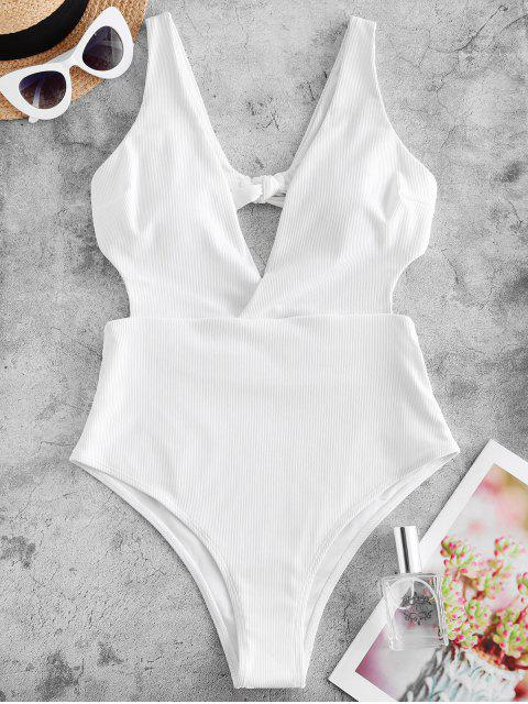 affordable ZAFUL Ribbed Surplice-front Monokini Swimsuit - WHITE S Mobile