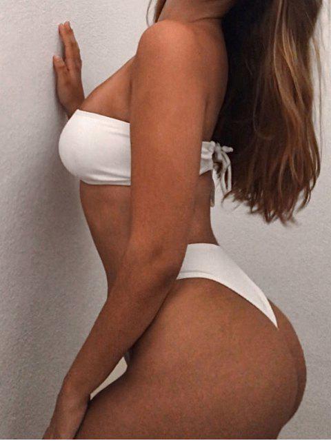 shops High Cut Ribbed Bandeau Bikini Set - WHITE S Mobile