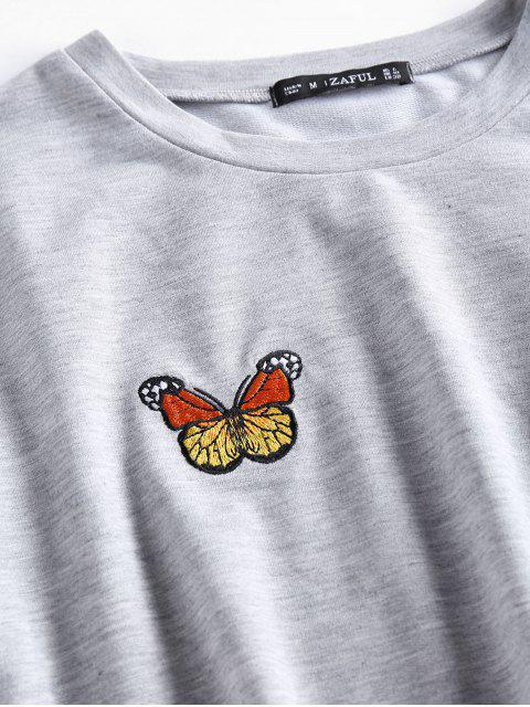 ZAFUL Set de Cintura Alta con Bordado de Mariposa - Gris M Mobile
