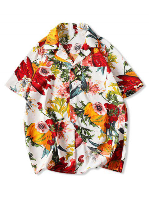 ladies Flower Print Pocket Patch Vacation Shirt - WHITE L Mobile