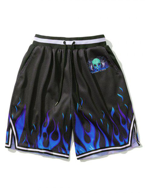 shops Flame ET Graphic Elastic Wasit Shorts - BLACK M Mobile