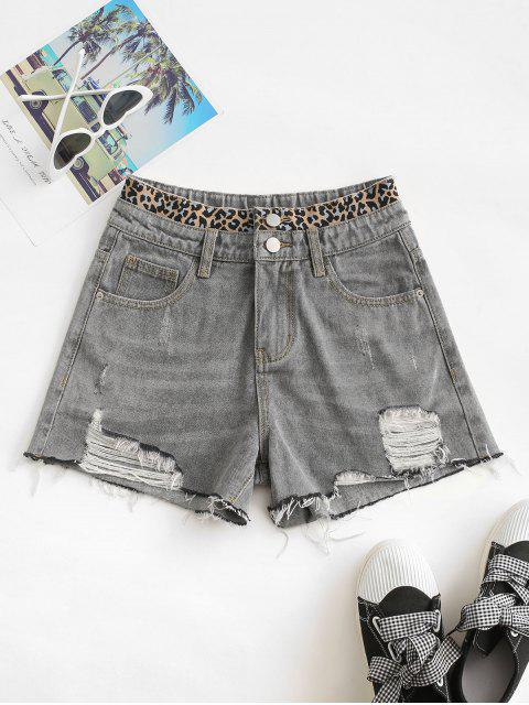 sale Distressed Frayed Hem Leopard Cutoff Shorts - GRAY S Mobile