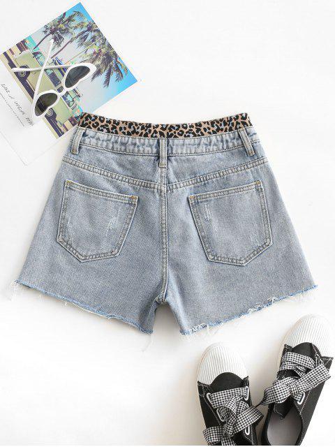 affordable Distressed Frayed Hem Leopard Cutoff Shorts - LIGHT BLUE L Mobile