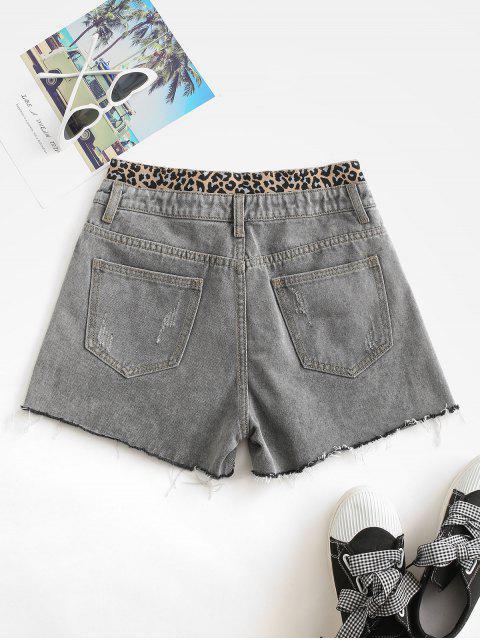 Zerstörte Ausgefranste Hem Leopard Bermuda Shorts - Grau XL Mobile