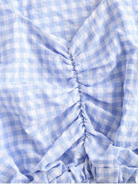 outfits Gathered Front Puff Sleeve Plaid Blouse - LIGHT BLUE XL Mobile