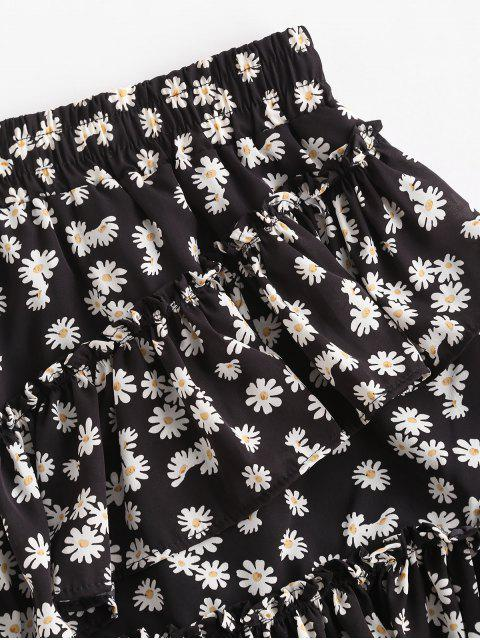 hot Daisy Print Layered Ruffles Mini Skirt - BLACK M Mobile