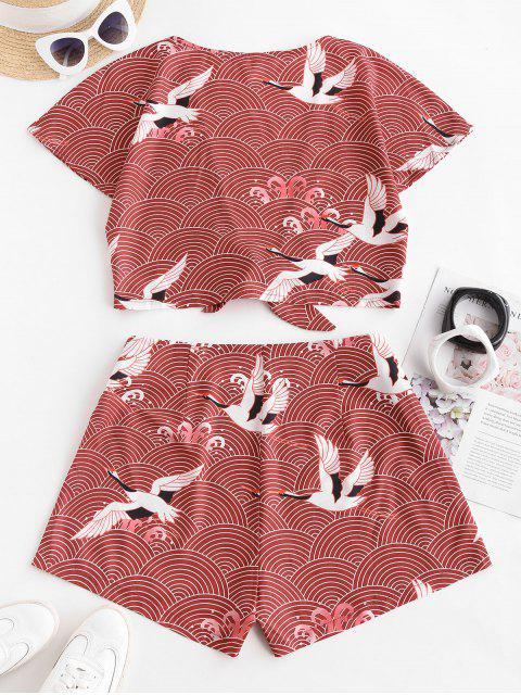 buy ZAFUL Tie Front Cropped Crane Printed Two Piece Set - DEEP RED L Mobile
