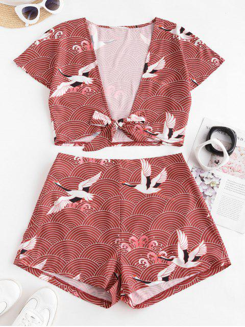 womens ZAFUL Tie Front Cropped Crane Printed Two Piece Set - DEEP RED XL Mobile