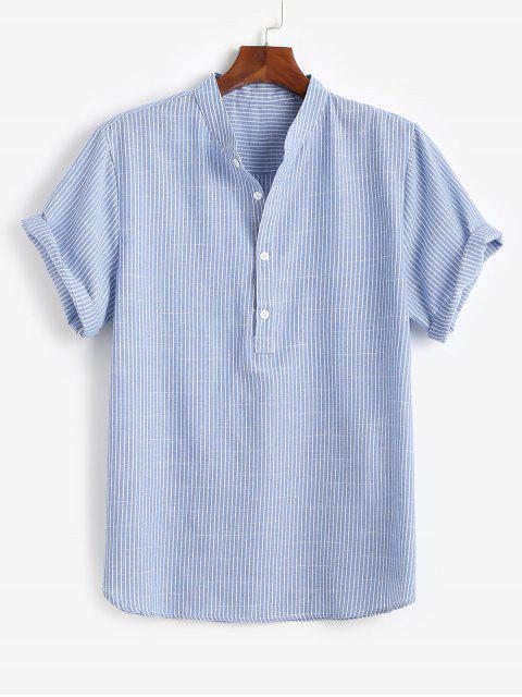 fashion Half Button Striped Shirt - BLUE M Mobile