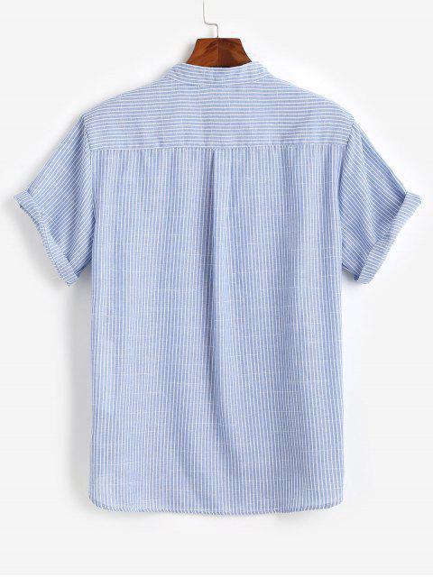 unique Half Button Striped Shirt - BLUE 2XL Mobile