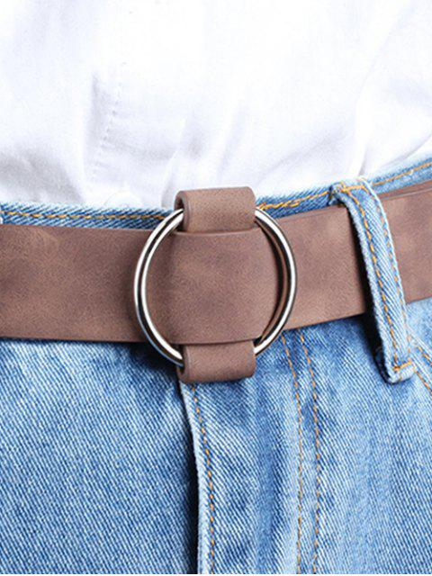 fancy Circle No Pin Buckle Belt - BROWN  Mobile