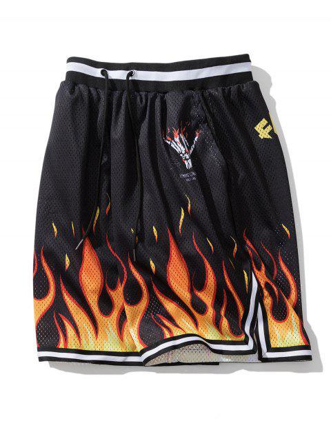 affordable Flame Letter Print Elastic Waist Shorts - BLACK L Mobile