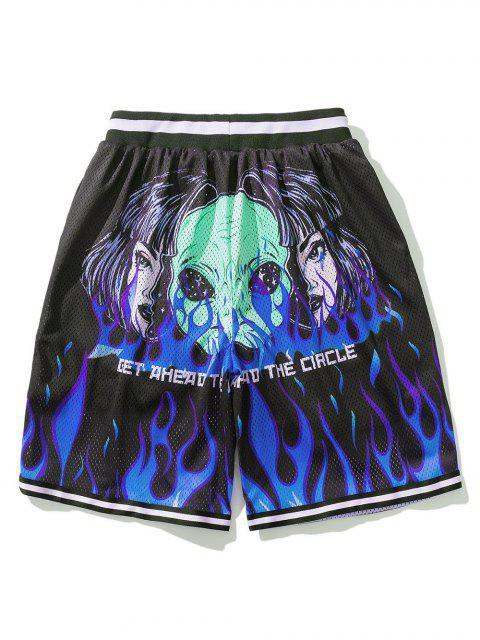 latest Flame ET Graphic Elastic Wasit Shorts - BLACK L Mobile