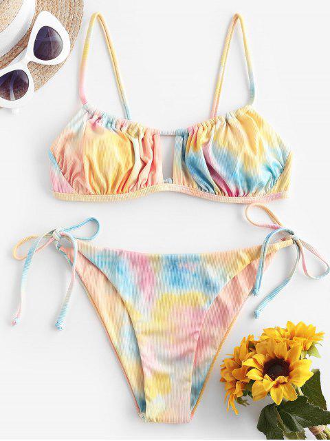 affordable ZAFUL Ribbed Tie Dye Cutout String Bikini Swimwear - LIGHT ORANGE L Mobile