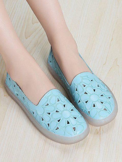 sale Floral Embroidery Hollow Out Flat Shoes - BLUE EU 39 Mobile