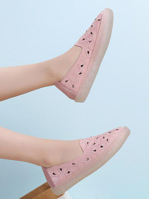 sale Floral Embroidery Hollow Out Flat Shoes - PINK EU 38 Mobile