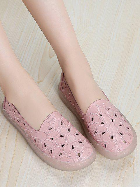 buy Floral Embroidery Hollow Out Flat Shoes - PINK EU 40 Mobile