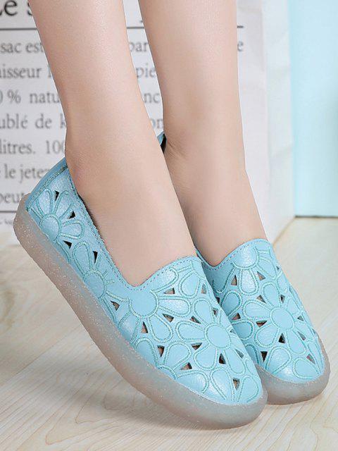 unique Floral Embroidery Hollow Out Flat Shoes - BLUE EU 38 Mobile