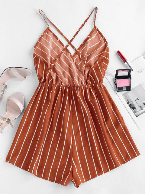 affordable ZAFUL Striped Criss Cross Backless Loose Romper - RED DIRT XL Mobile