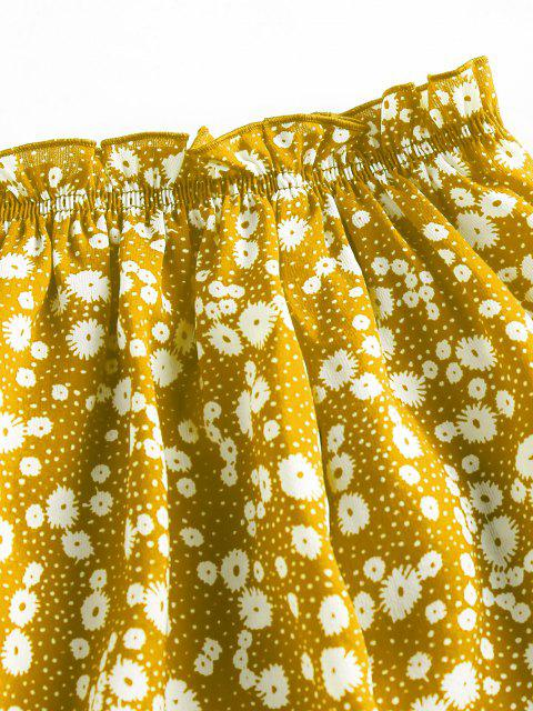 womens ZAFUL Ditsy Print Off The Shoulder Blouse - YELLOW L Mobile