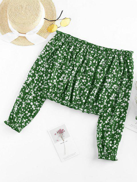 outfit ZAFUL Ditsy Print Off The Shoulder Blouse - SEA TURTLE GREEN M Mobile