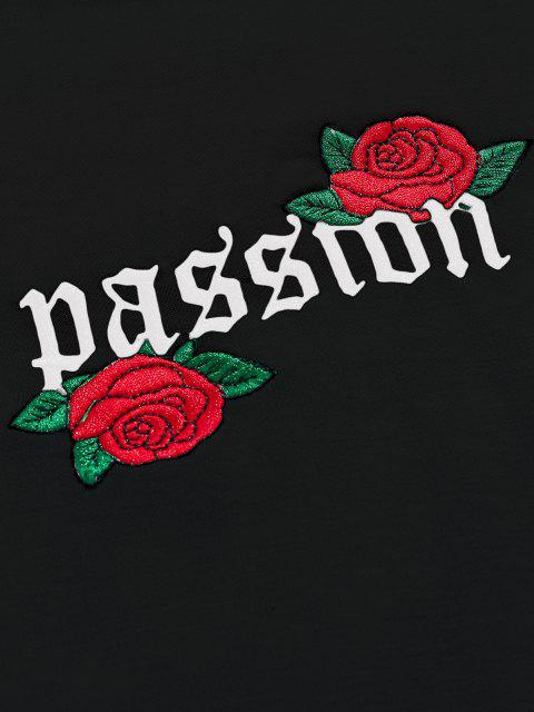 affordable ZAFUL Rose Letter Embroidered Casual Sweatshirt - BLACK M Mobile