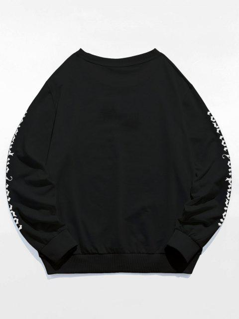 buy ZAFUL Rose Letter Embroidered Casual Sweatshirt - BLACK L Mobile