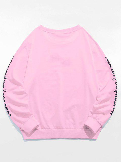 new ZAFUL Rose Letter Embroidered Casual Sweatshirt - LIGHT PINK S Mobile
