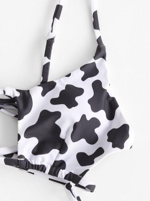 ZAFUL Bikini Recortado con Estampado de Animal - Negro M Mobile