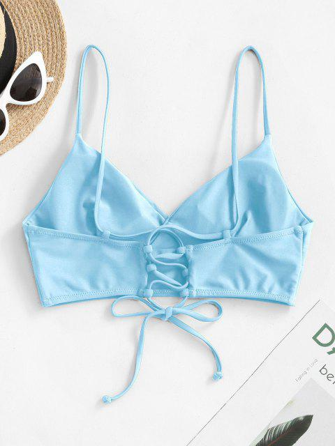 shop ZAFUL Lace-up Surplice Bikini Top - LIGHT BLUE M Mobile