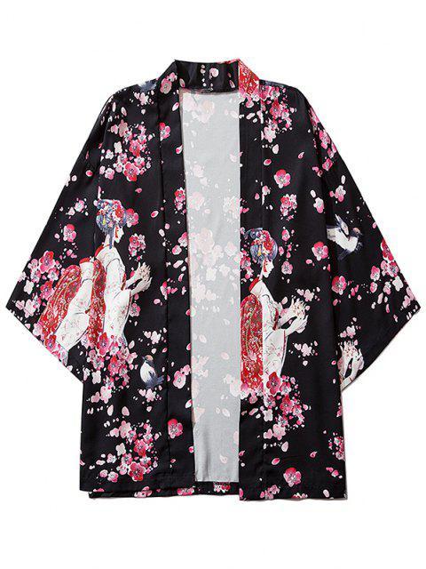 hot Sakura Geisha Print Open Front Kimono Cardigan - BLACK 2XL Mobile