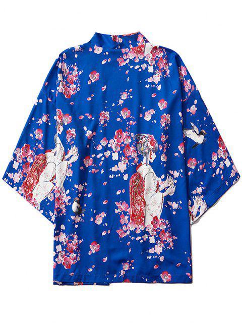 Sakura Geisha Drucken Open Front Kimono Cardigan - Kobaltblau M Mobile