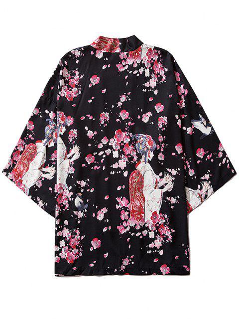 Kimono de Abertura Frontal con Estampado de Geisha - Negro M Mobile