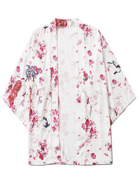 Sakura Geisha Print Open Front Kimono Cardigan - حليب ابيض 2XL Mobile