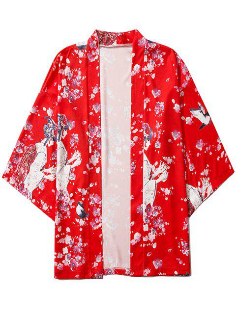 fancy Sakura Geisha Print Open Front Kimono Cardigan - RUBY RED L Mobile