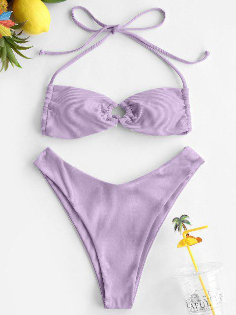 ZAFUL Maillot de Bain Bikini Côtelé Anneau à Col Halter - Violet clair L Mobile