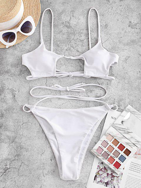 fashion ZAFUL Crisscross Tie Cut Out Bikini Swimwear - WHITE L Mobile